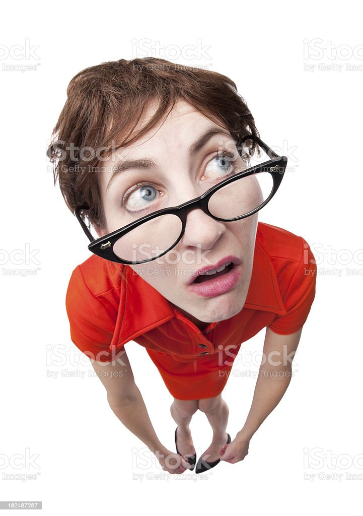 Geeky Unsure Woman royalty-free stock photo