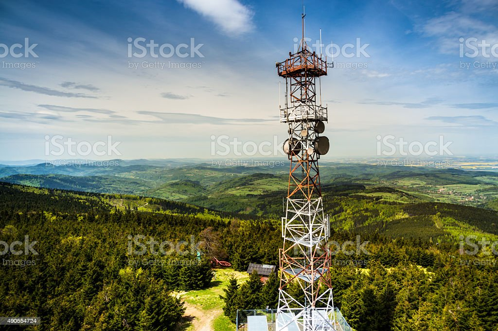 Geen Mountains Ladscape And Radio Tower stock photo
