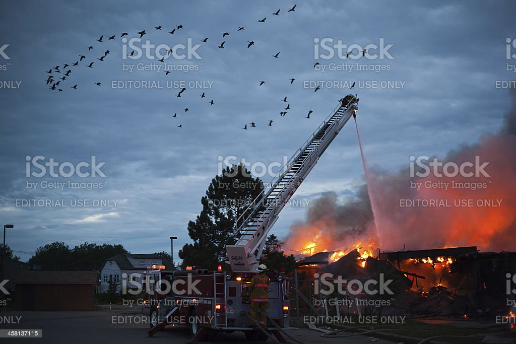 Geese Fly as Firemen Fight Fire royalty-free stock photo
