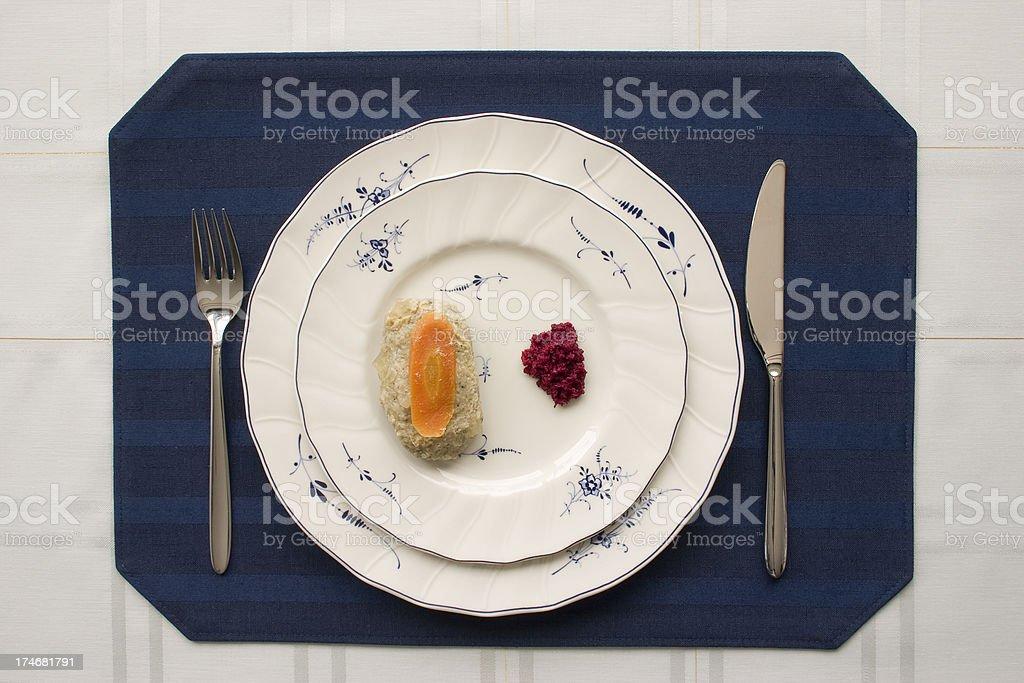 Gefilte fish with Horseradish royalty-free stock photo