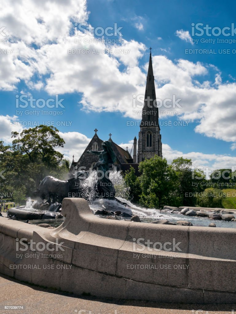 Gefion Fountain and St Alban's church, Copenhagen stock photo