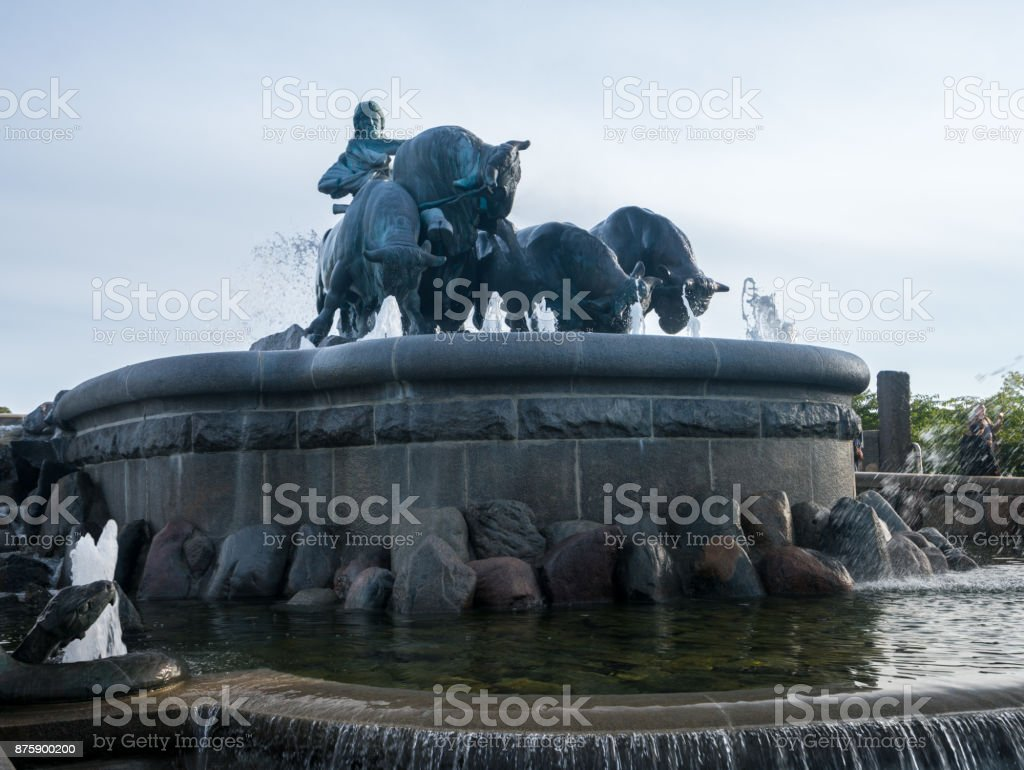 Gefion Fountain opened 1908 in Copenhagen Denmark stock photo