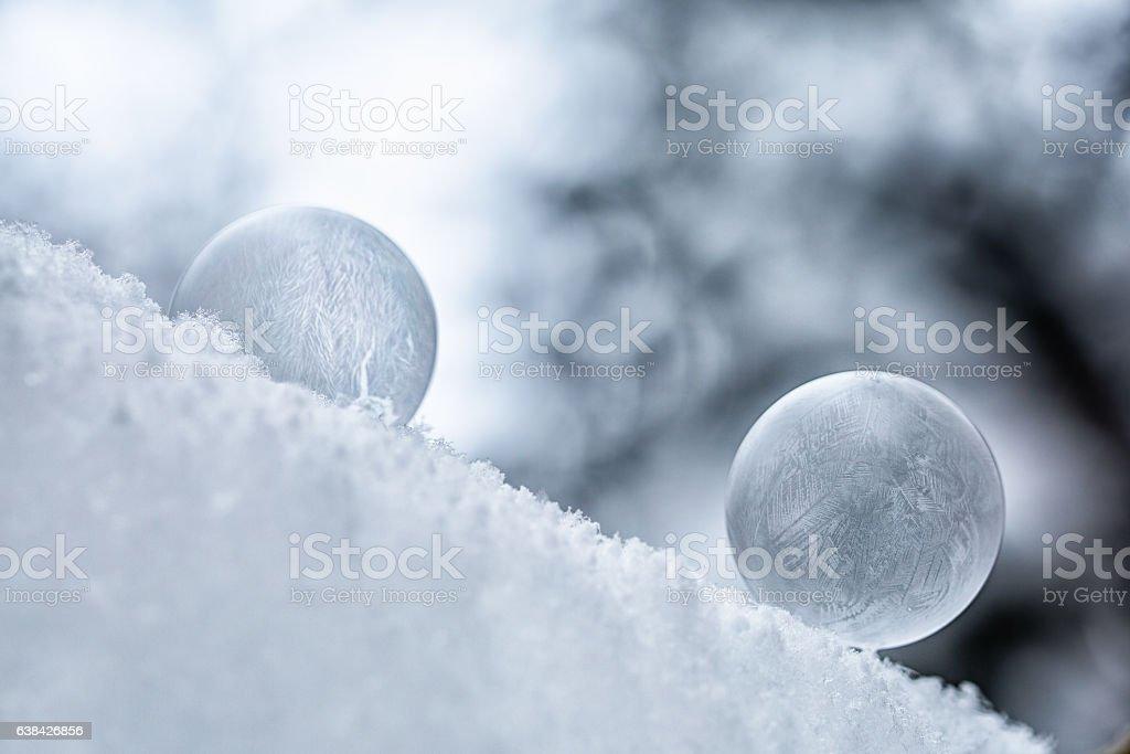 Gefrorene Seifenblasen stock photo