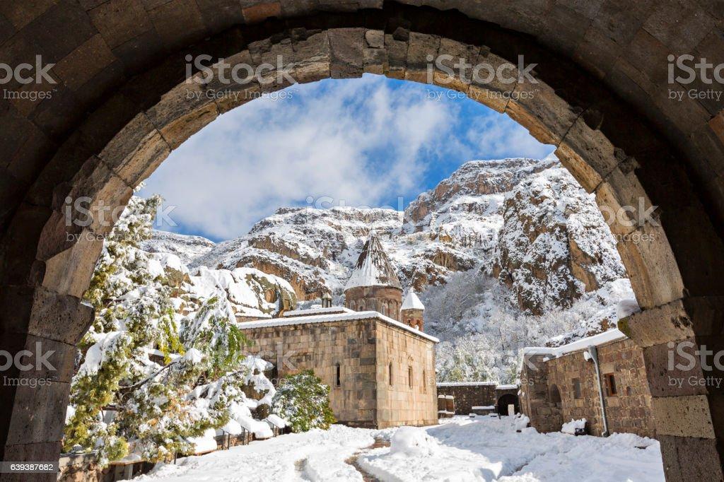 Geghard Monastery in Armenia, in the winter stock photo