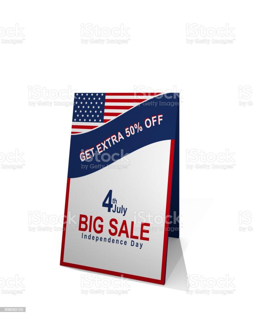Gehwegaufsteller Mit Amerikanischer Flagge Und Text Mit Rabatt verkauf – Foto