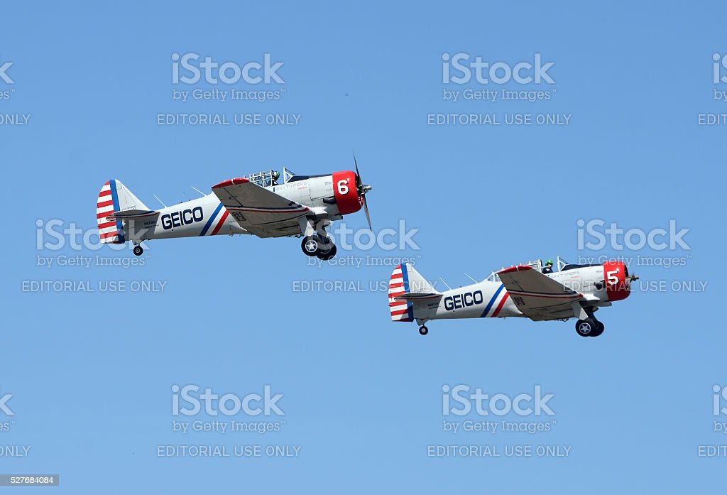 Geico Skytypers airplanes in flight stock photo