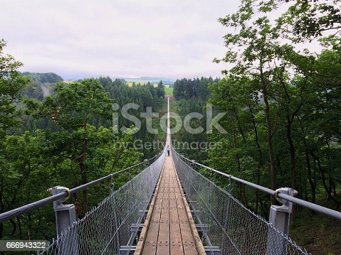 Geierlay suspension bridge from south to north with a man taking pictures