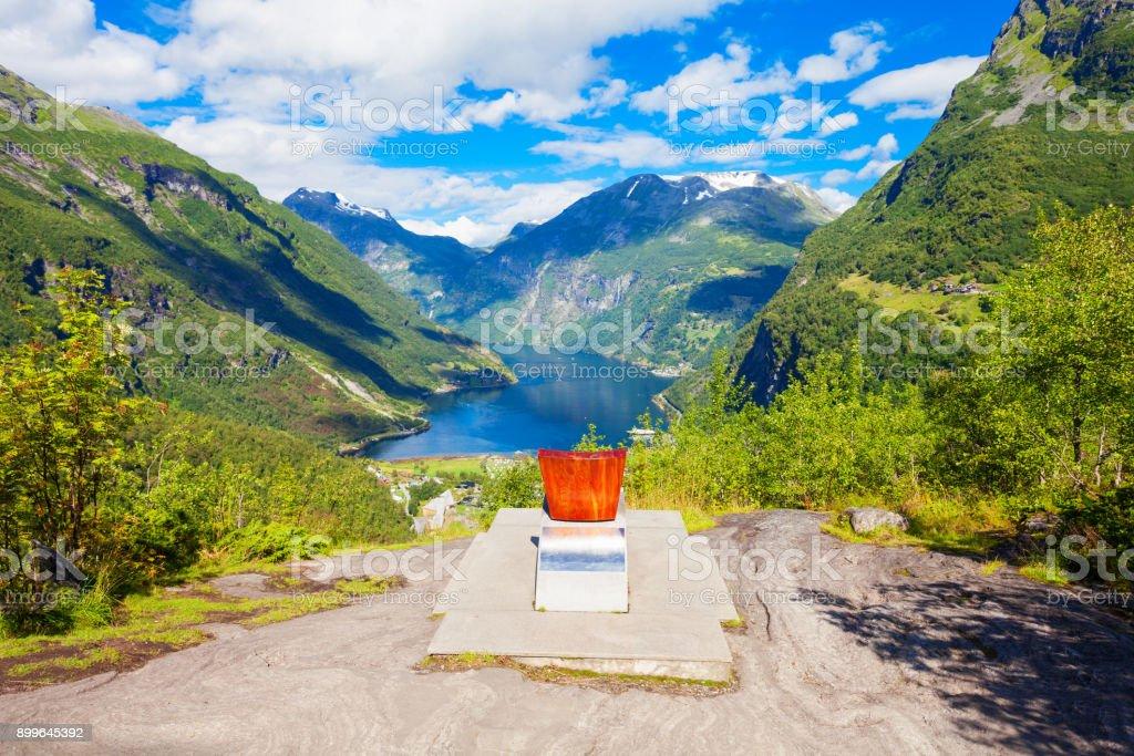 Geiranger at Geirangerfjord, Norway stock photo