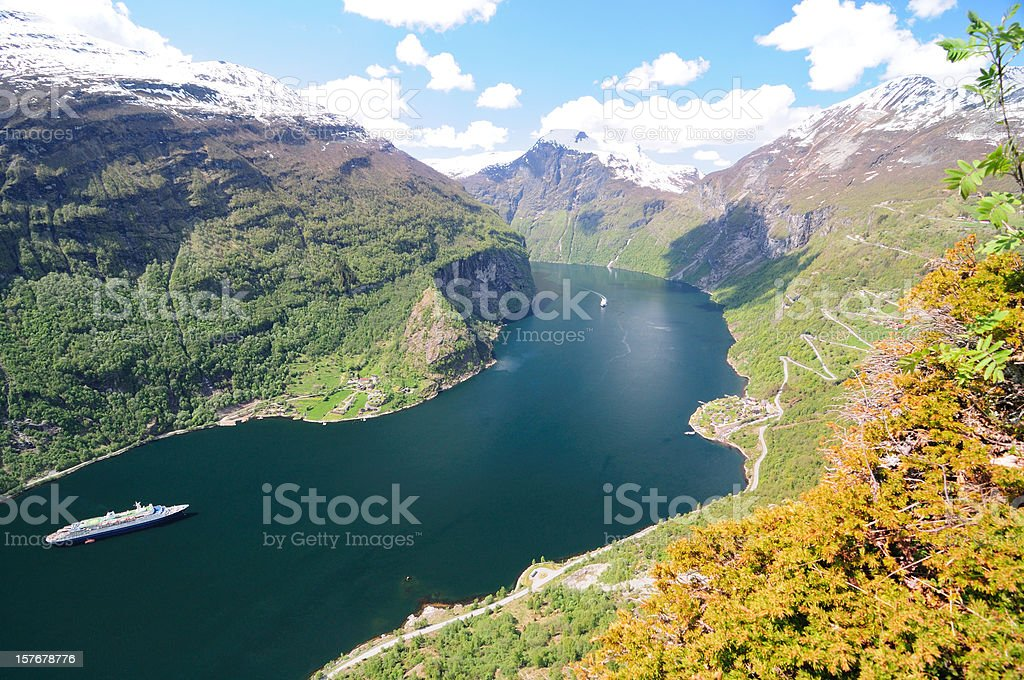 Geiranger Fjord at hellesylt Norway royalty-free stock photo