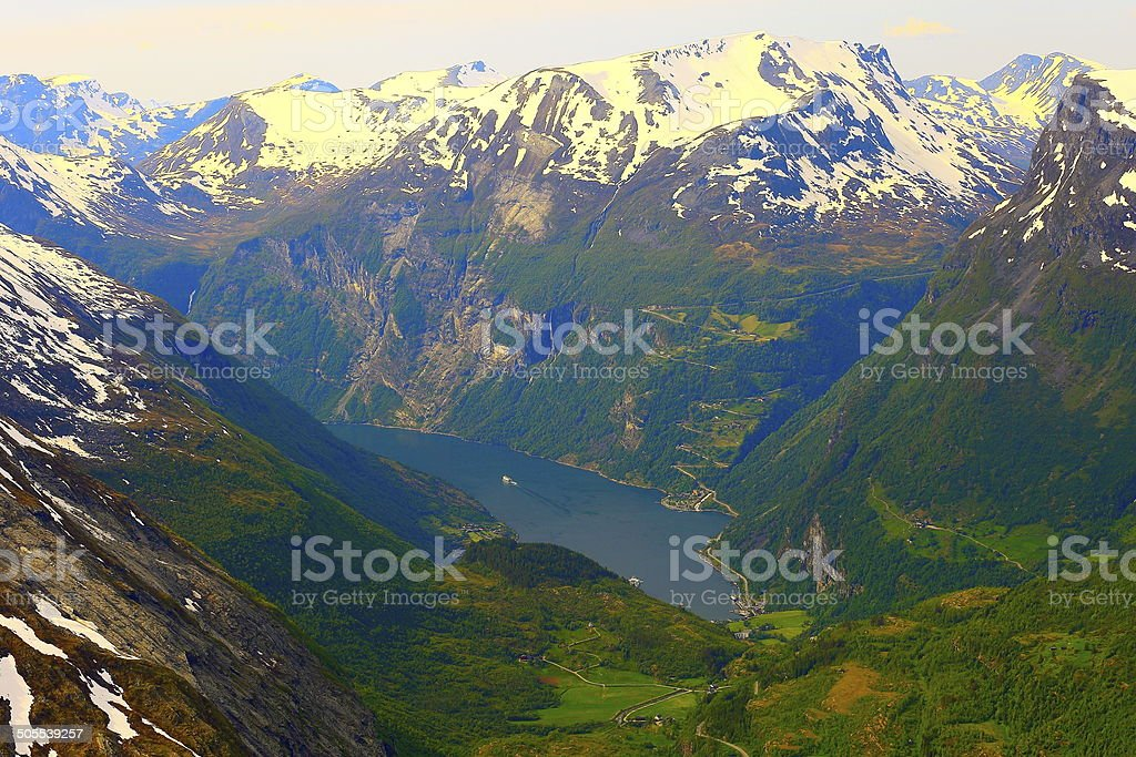 Geiranger fjord cruise from Mount Dalsnibba, Norway stock photo