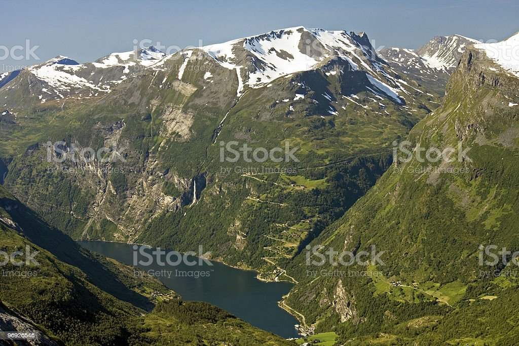 Geiranger fjord from top, Norway royalty-free stock photo