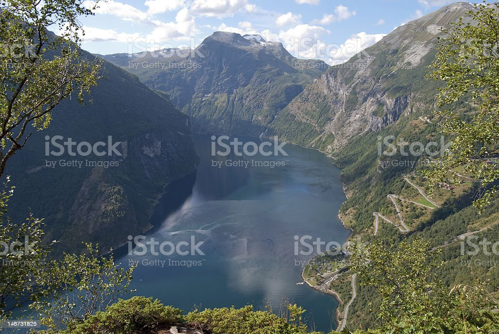 Geiranger fjord in Norway stock photo