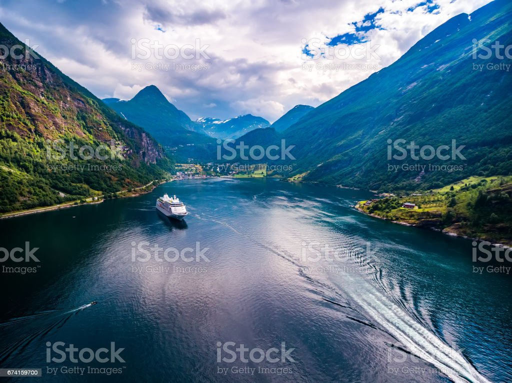 Geiranger fjord, Norway aerial photography. – Foto