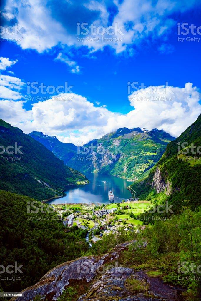 Geiranger Fjord, Norwegen Luftaufnahmen. – Foto