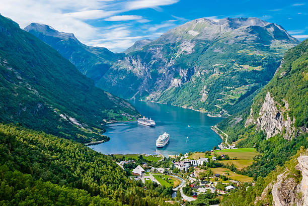 geiranger fjord, norway - fjord stock photos and pictures