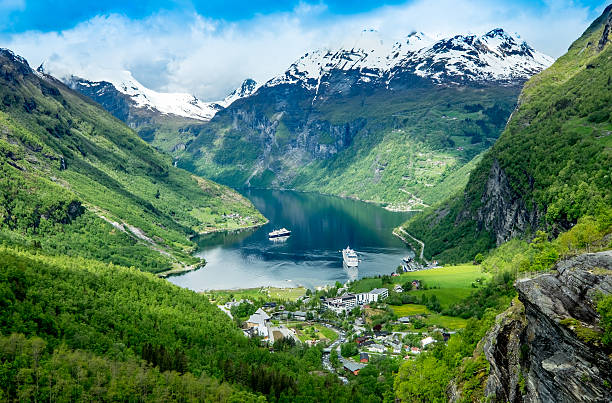 geiranger fjord, norway. - fjord stock photos and pictures