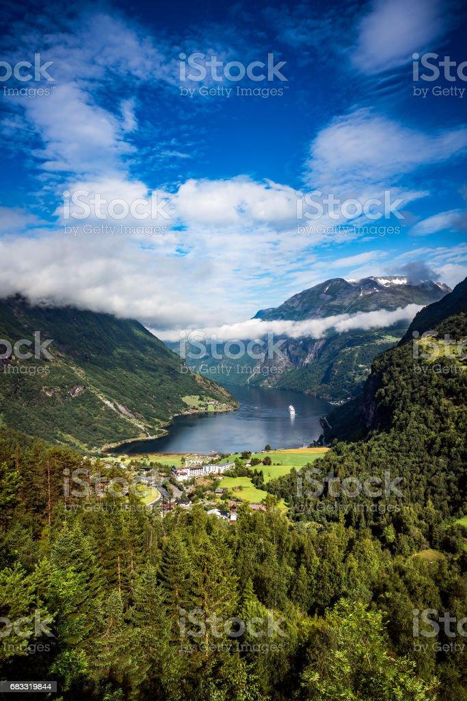 Fiordo Geiranger, Noruega. foto de stock libre de derechos