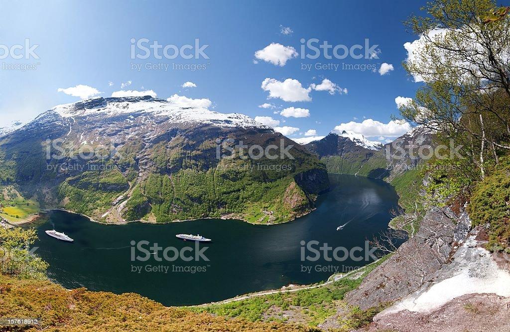 Geiranger Fjord Panorama at hellesylt Norway stock photo