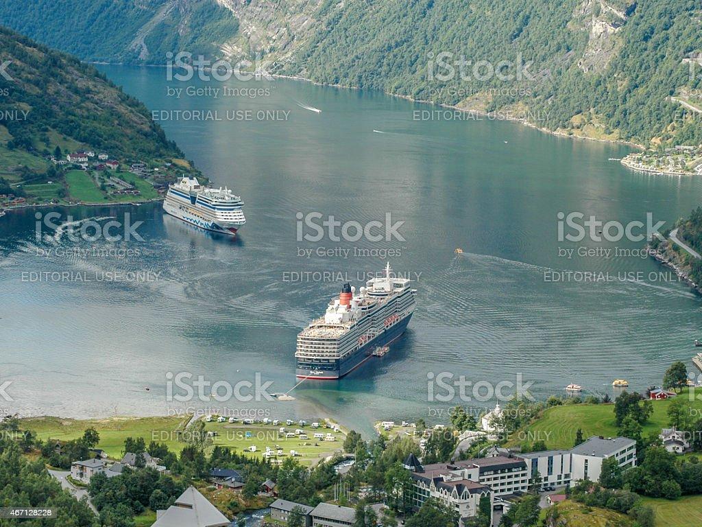 Geiranger Fjord Panorama stock photo