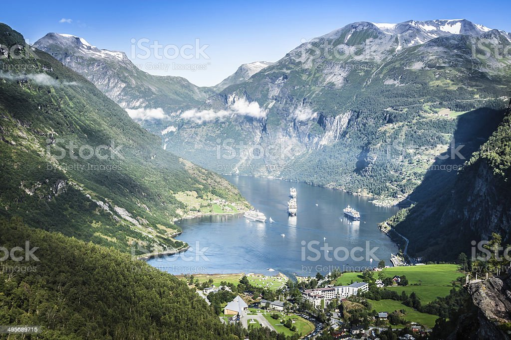 Geiranger fjord panoramic view,Norway stock photo