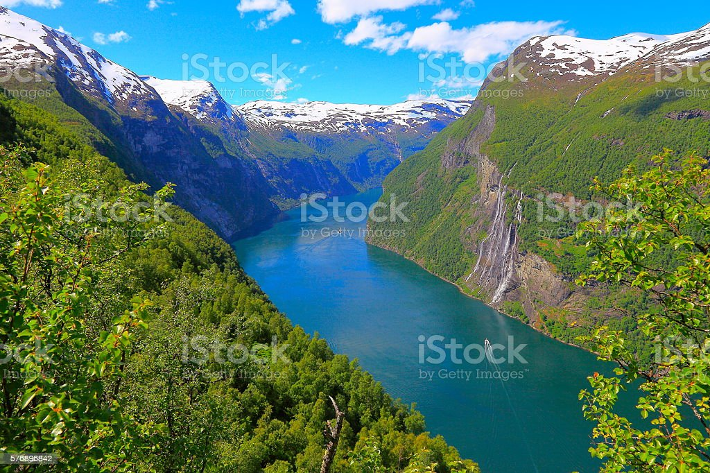 Geiranger fjord, ship Cruise, Seven Sisters Waterfall - Norway, Scandinavia stock photo