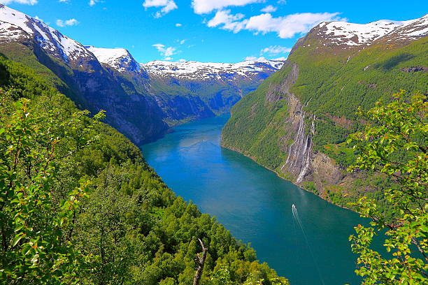 geiranger fjord, ship cruise, seven sisters waterfall - norway, scandinavia - fjord stock photos and pictures