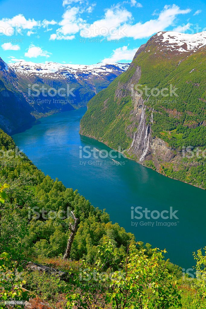 Geiranger fjord, speedboats, Seven Sisters Waterfall - Norway, Scandinavia stock photo