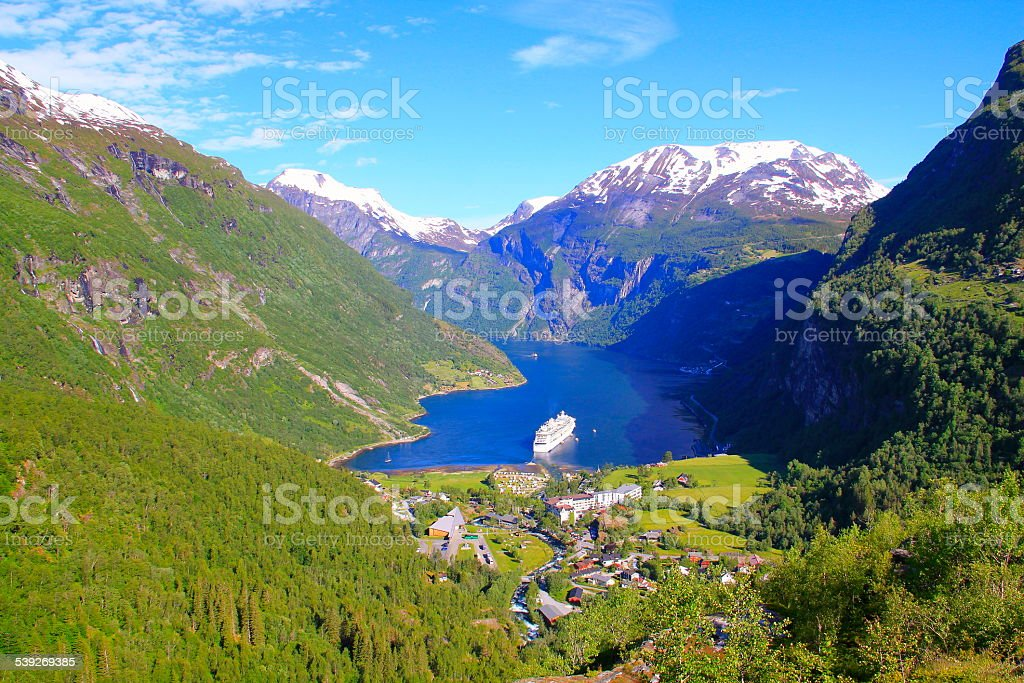 Geiranger fjord village at sunrise in summer, Norway, Scandinavia stock photo