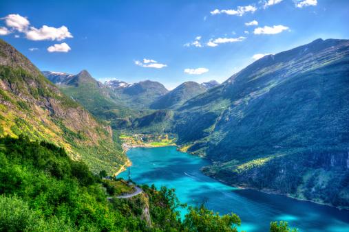 The beautiful scenics of norwegian Geirangerfjord.