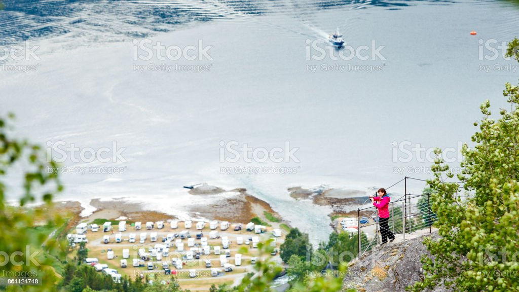 Geirangerfjord and Geiranger village in Norway royalty-free stock photo