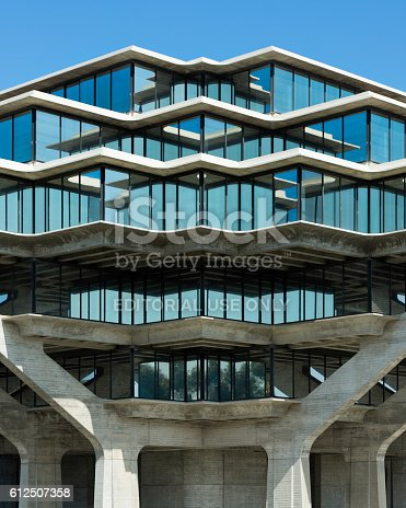 La Jolla, California, USA - August 9, 2016: Exterior of the Geisel Library on the campus of the University of California at San Diego