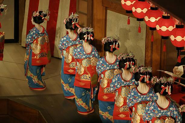Geisha and maiko performance at Miyako Odori Maiko debut at Miyako Odori, Kyoto Gion's public show. geisha stock pictures, royalty-free photos & images