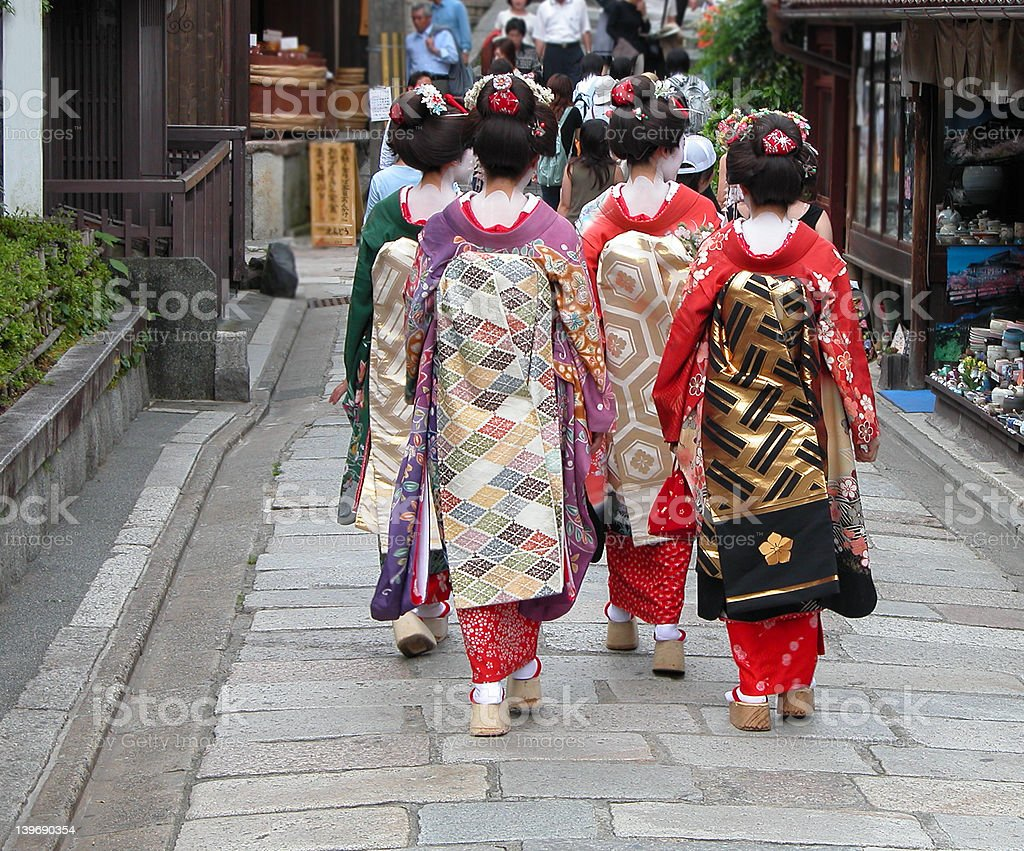 Geisha group in a Kyoto street royalty-free stock photo
