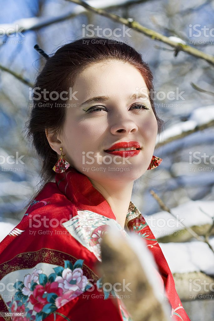 Geisha in the forest royalty-free stock photo