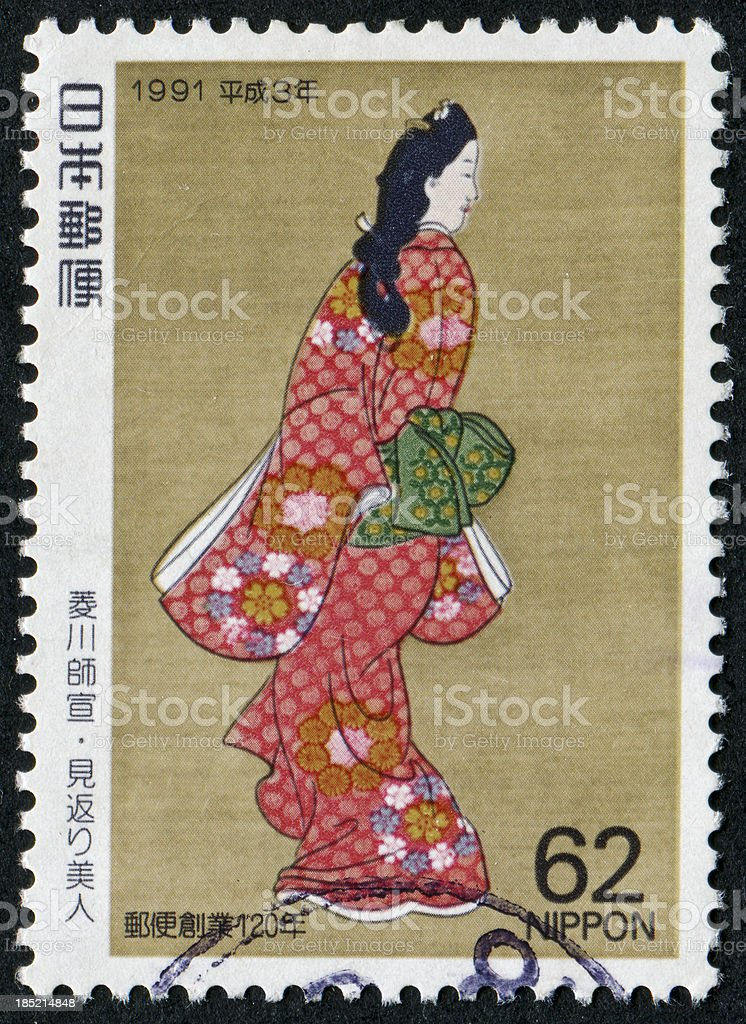 Geisha Stamp stock photo