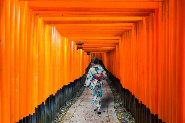 geishas among red wooden tori gate at fushimi inari shrine in kyoto, japan. woman wearing traditional japanese kimono in kyoto, japan. - geisha girl stock photos and pictures