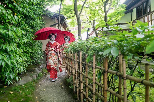 geishas walking outdoors - natürliche make up kurse stock-fotos und bilder