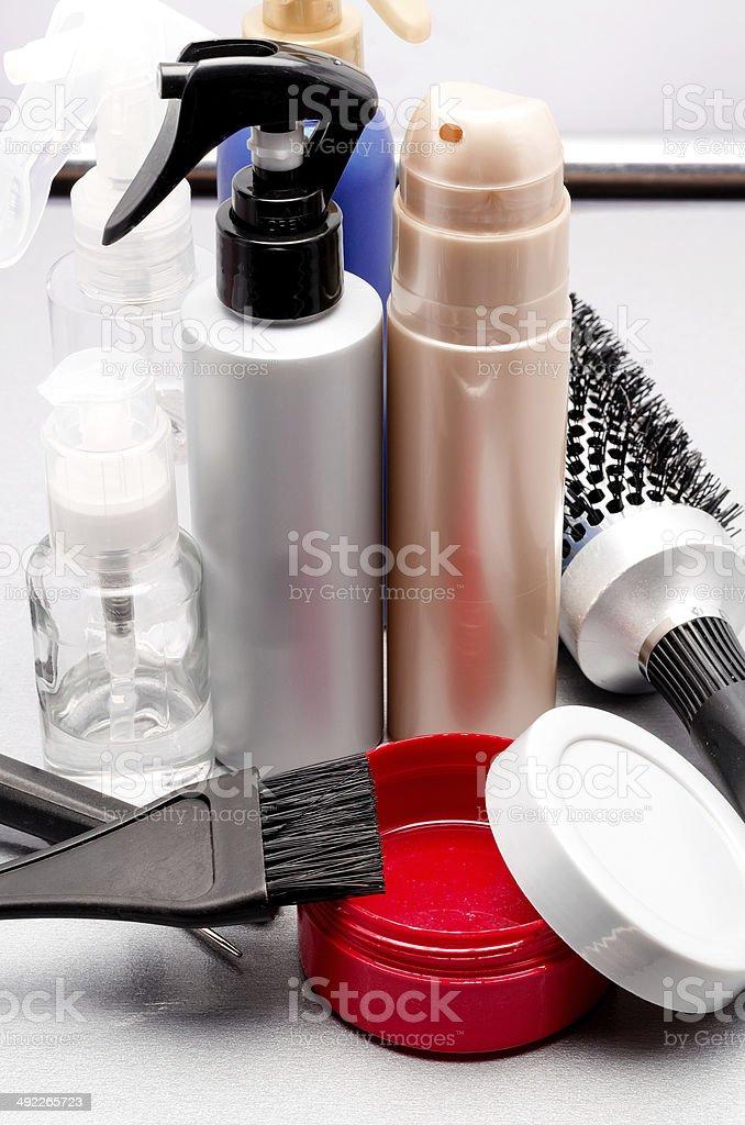 gel, hairbrush and hair balms royalty-free stock photo