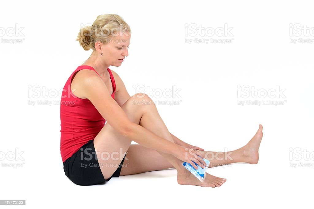 gel pack on ankle royalty-free stock photo