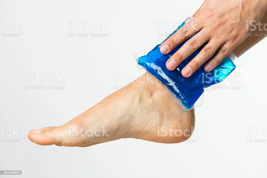 Gel Pack On Ankle - Royalty-free Adult Stock Photo