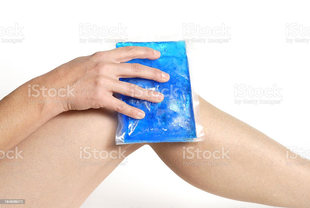 gel pack on knee stock photo