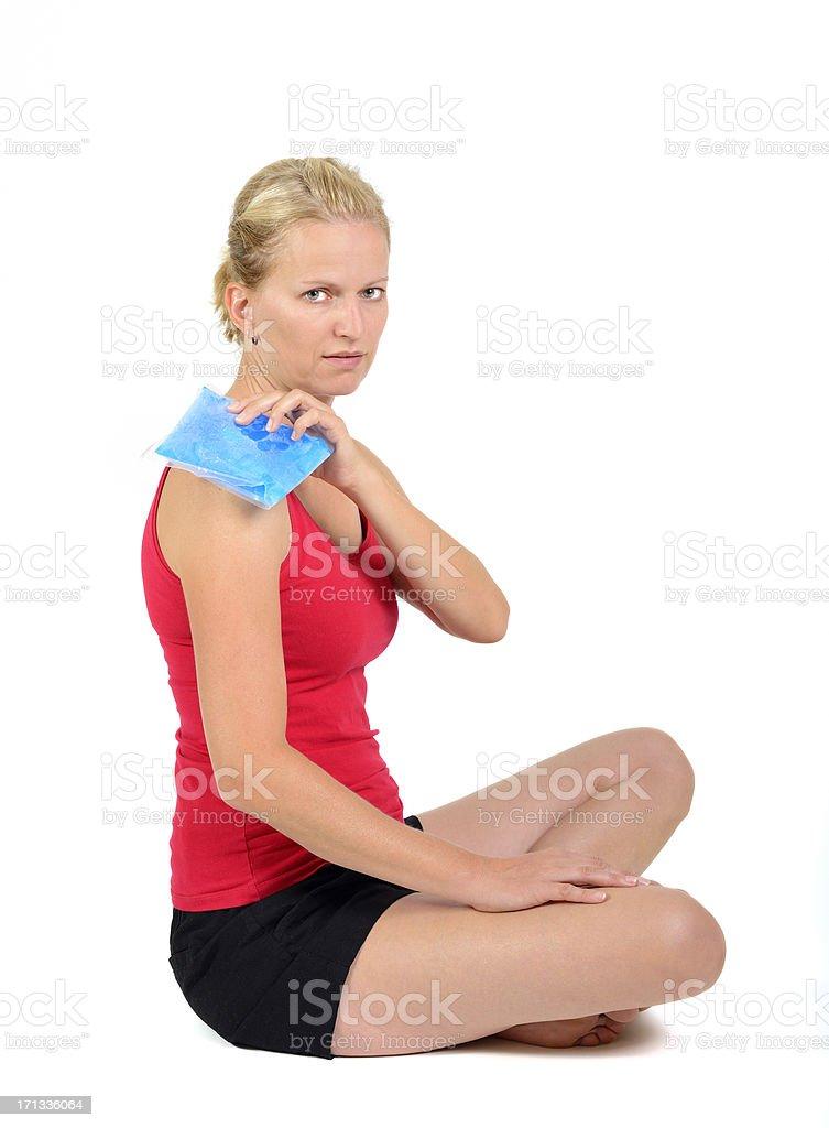 gel pack on shoulder royalty-free stock photo