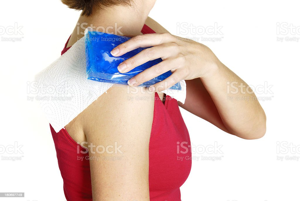 gel pack on shoulder royalty-free stock photo