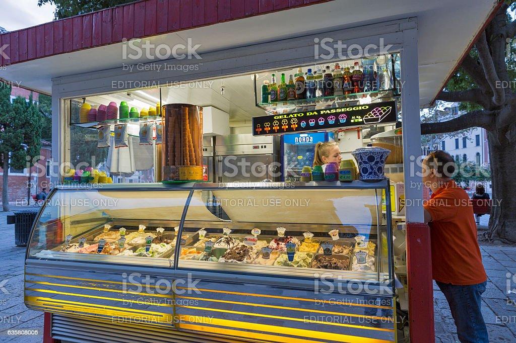 Gelateria - traditional Italian ice cream shop in Venice, Italy. stock photo