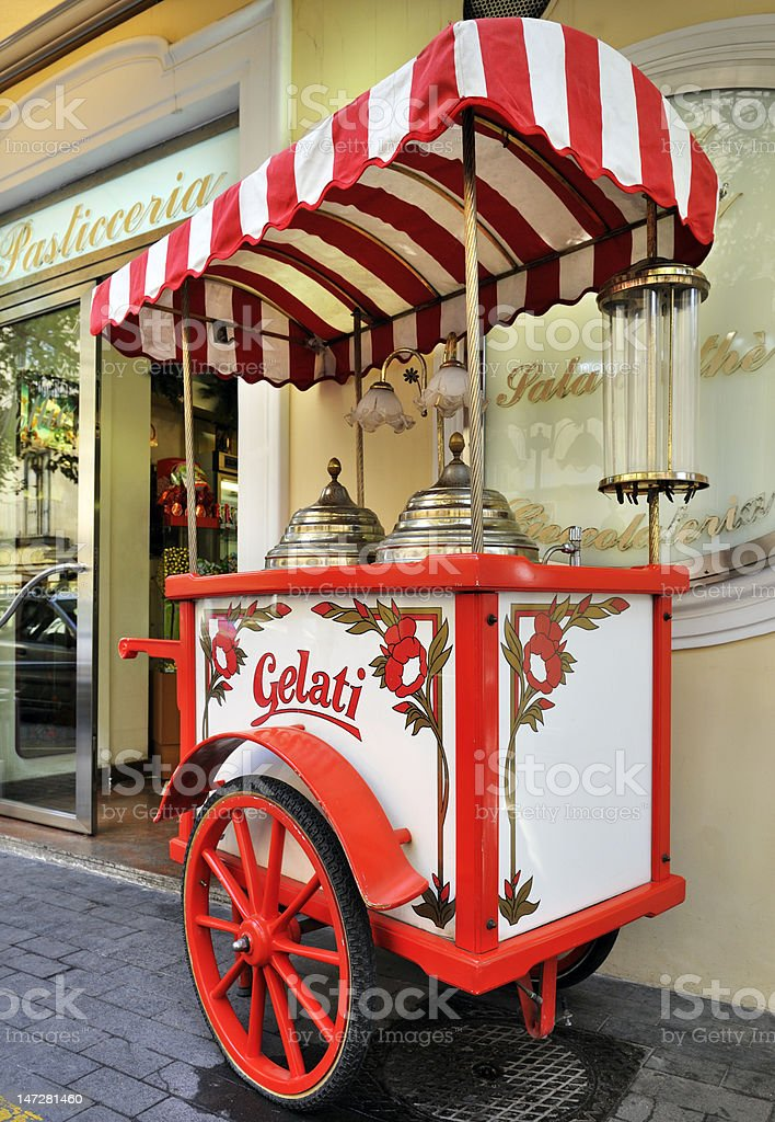 Gelati ice cream cart stock photo