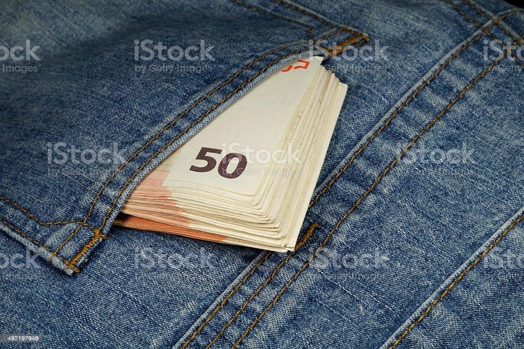 Geld Hosentasche stock photo