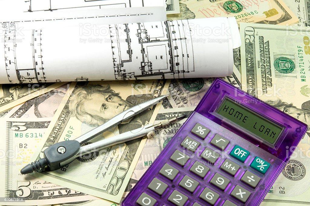 Geld und Bau eines Hauses stock photo