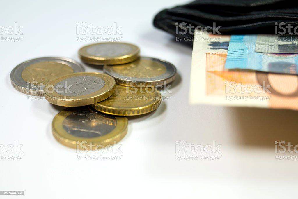 Geld und Geldbörse stock photo