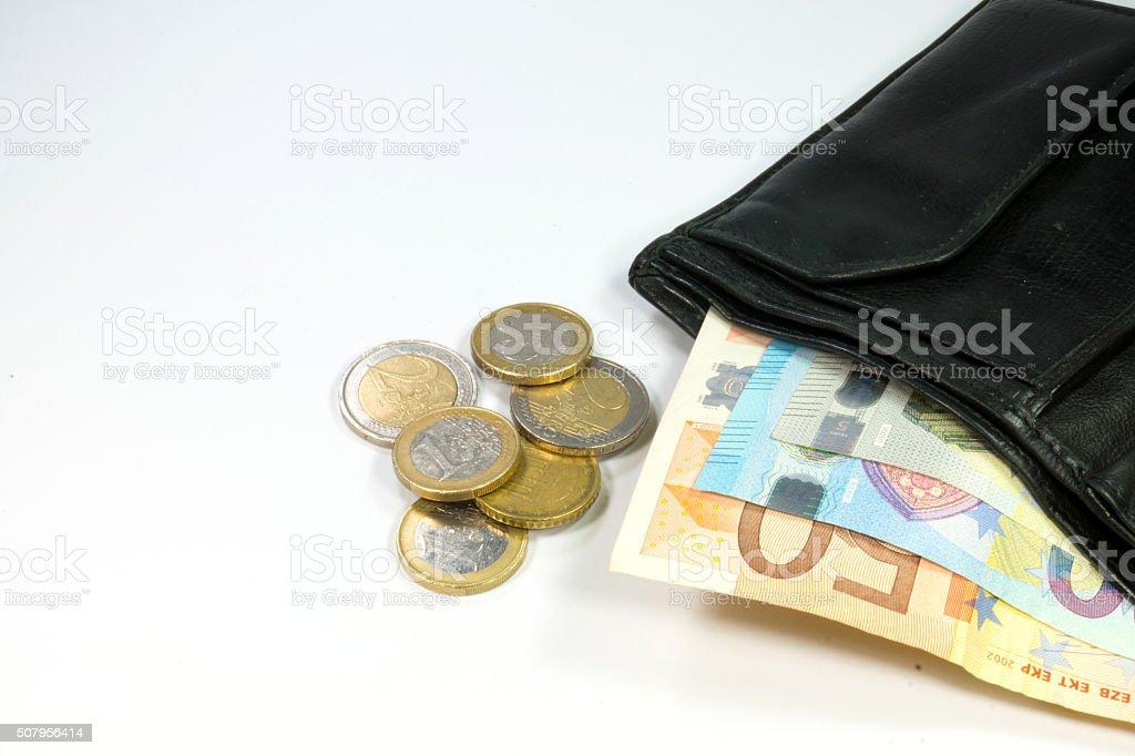 Geldbörse und Bargeld stock photo