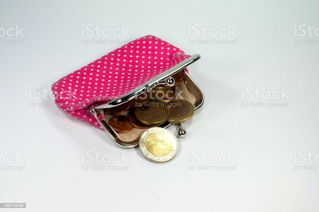 Geldbörse und Münzen stock photo